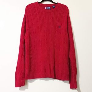 Chaps Crew Neck Cable Knit Red Sweater